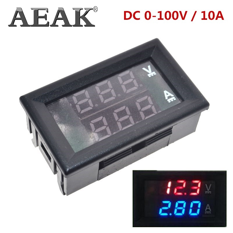 AEAK DC 0-100V 10A Digital Voltmeter Ammeter Dual Display Voltage Detector Current Meter Panel Amp Volt Gauge 0.28'' Red Blue LED