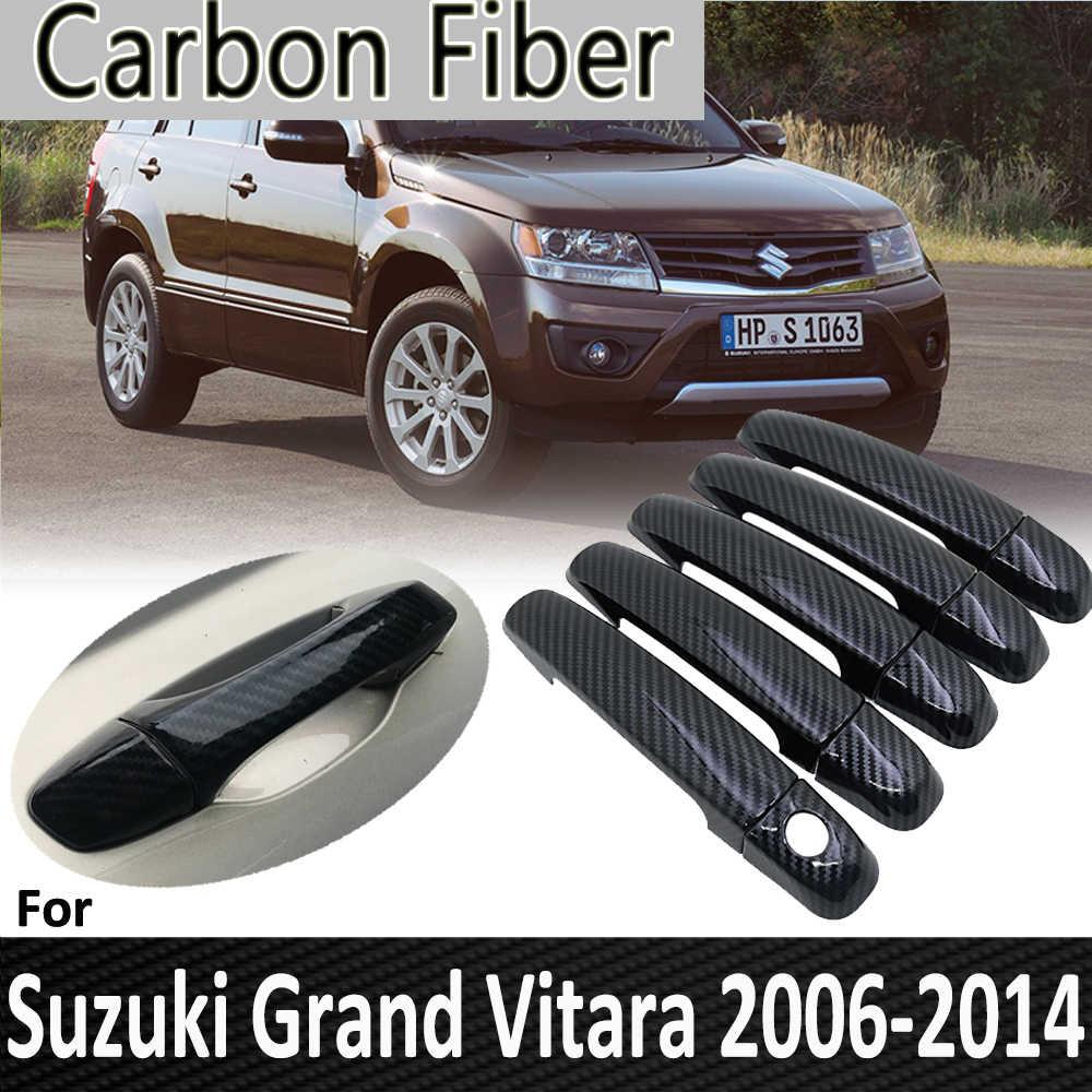 Czarne włókno węglowe dla Suzuki Grand Vitara Grand Nomade Escudo 2006 ~ 2014 2012 2013 Chrome pokrywa klamki drzwi samochodu akcesoria samochodowe