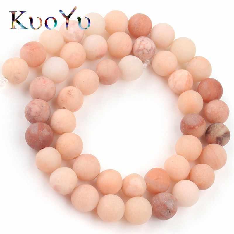 Naturalny matowy połysk matowy różowy awenturyn Jades okrągły luźne koraliki do tworzenia biżuterii 4/6/8/10mm zestaw do robienia bransoletek naszyjnik biżuteria