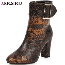 SARAIRIS Hot Sale New Big Size 35-43 Fashion Snake Veins Booties Elegant Buckle Ankle Boots Women 2019 High Heels Shoes Woman