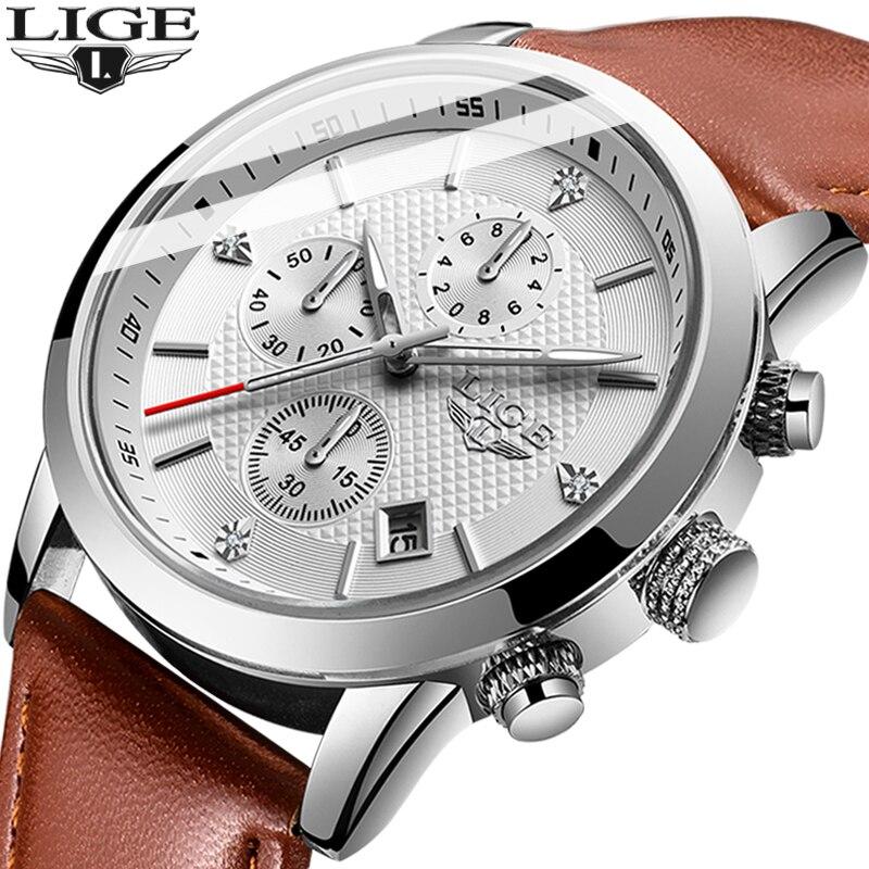 2020 LIGE Top Brand New Casual Fashion Men Quartz Watch Luxury Military Leather Strap Chronograph Men Watch Relogio Masculino