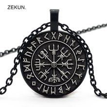 2019 / New Vegvisir Viking Compass Pendant Jewelry Glass Cabochon Fashion Necklace Clavicle Chain Men and Women