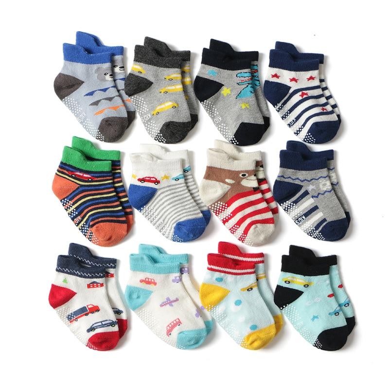 5 пар/лот Детские носки хлопок носки-тапочки для мальчиков детские короткие нескользящие носки для малышей