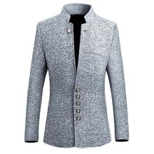 Fashion Men's Solid Color Long Sleeve Stand Collar Suit Jacket Slim Single-breasted Suit Coats Business Male Casual Blazers Tops