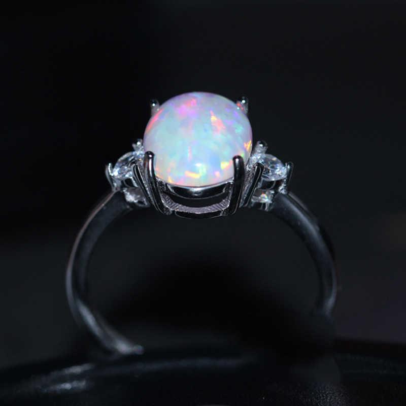 อินเทรนด์เงินคริสตัล bague แหวนผู้หญิงคลาสสิกหมั้นแหวนหญิงโอปอล Charms แฟชั่นเครื่องประดับ
