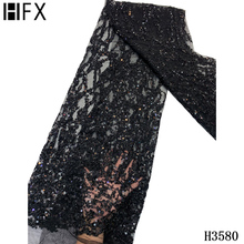 Sequin Lace Fabric Beaded Handmade Black African French-Net High-Quality HFX for Wedding-F3579