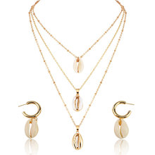 New Shell Pendant Jewelry Sets For Women Gold Color 2PC Multilayer Necklace Earrings Set Bohemia Jewellry African Jewelry Set(China)