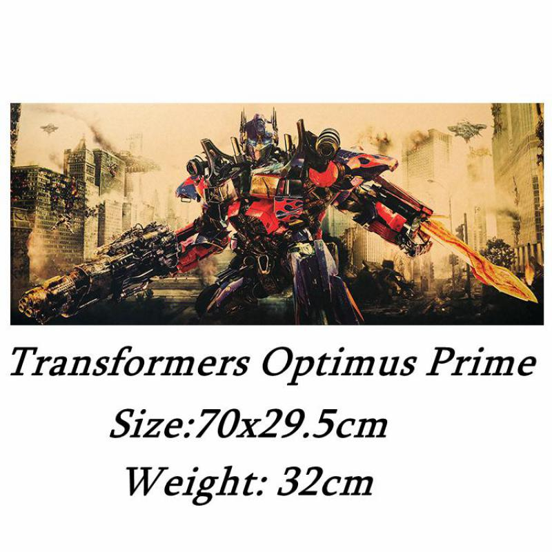 Трансформер Optimus Prime постер, ретро крафт-бумага, настенная наклейка, домашнее украшение, Картина комнаты, бумажная картина 70x29.5 см