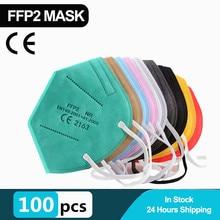 100 peças ce kn95 ffp2 máscaras 5 camadas fpp3 kn95 ffp2 máscaras de poeira rosto protetor fpp2 mascarillas filtro respirador ffp3 reutilizável