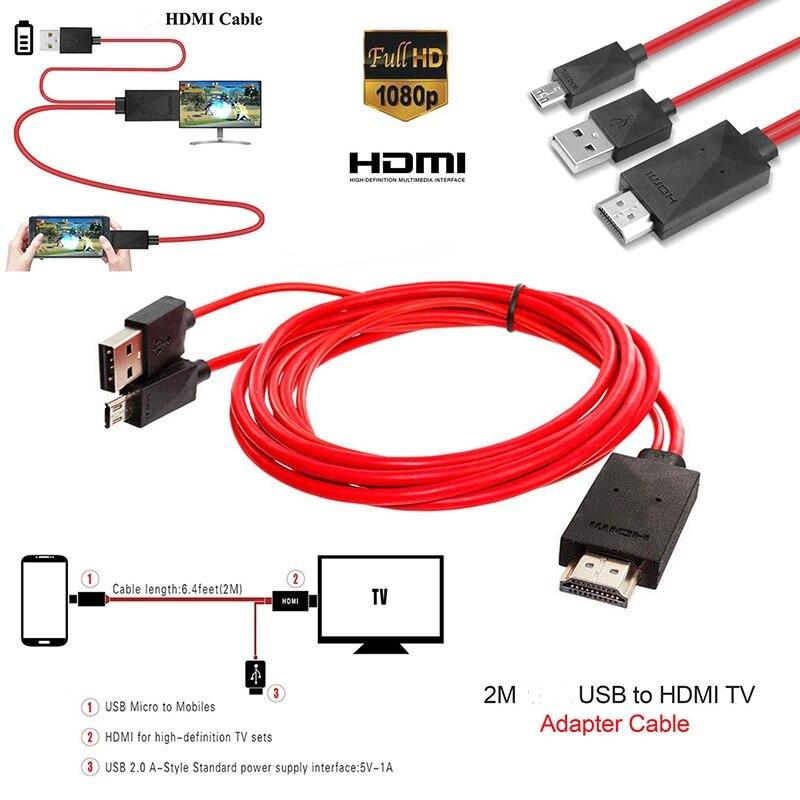 Adaptador de cabo vermelho micro usb 2.0 para hdmi, de alta qualidade, 1080p hd tv, 11 pinos, para samsung galaxy, android cabo adaptador de 2m para celulares