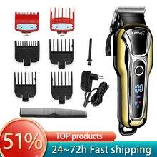 Kemei Haar clipper professional hair trimmer für männer bart elektrische cutter haar schneiden maschine haarschnitt LCD Cordless corded 5