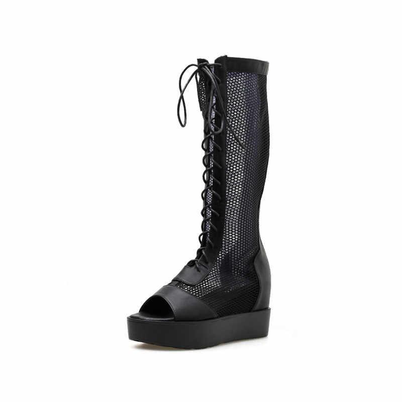 8cm kadın botları yaz açık ayak uzun çizmeler eğlence platformu takozlar çapraz Strappy siyah ayakkabı örgü yüksek diz çizmeler ayakkabı kadın
