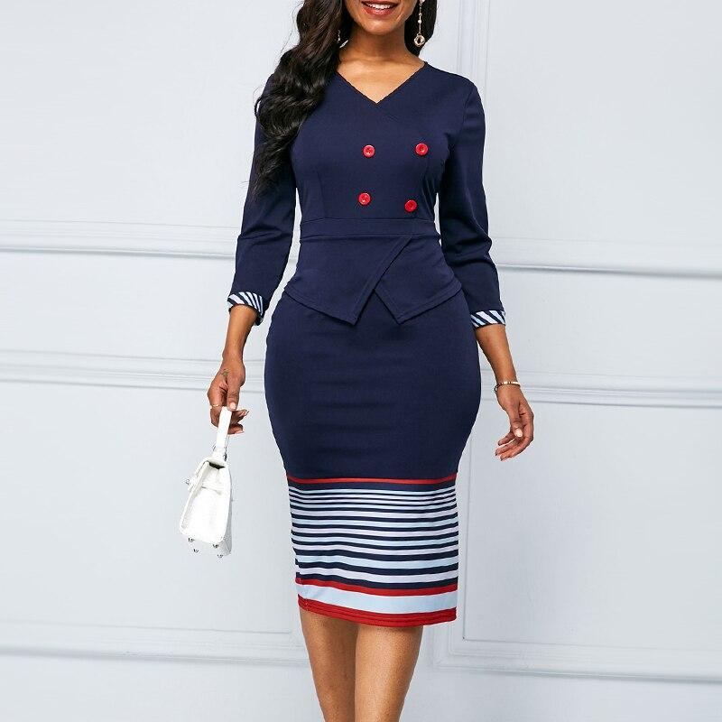 Осеннее элегантное платье для женщин 2020 повседневное облегающее офисное облегающее платье размера плюс винтажное лоскутное вечернее плат...