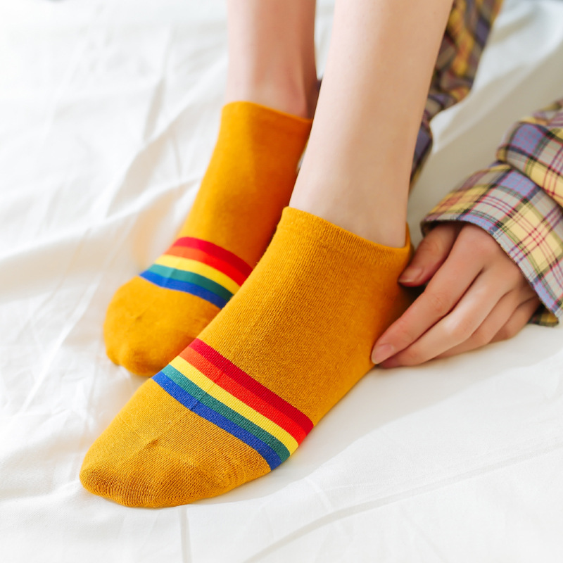 Fashion Bright Sunny Cotton Rainbow Bridge Women Ankle Boat Socks Embroidery Colorful High Quality Spring Summer Autumn Socks