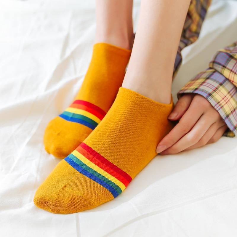 Fashion Bright Sunny Cotton Rainbow Bridge Women Ankle Boat Socks Embroidery Colorful High Quality Spring Summer Autumn Socks