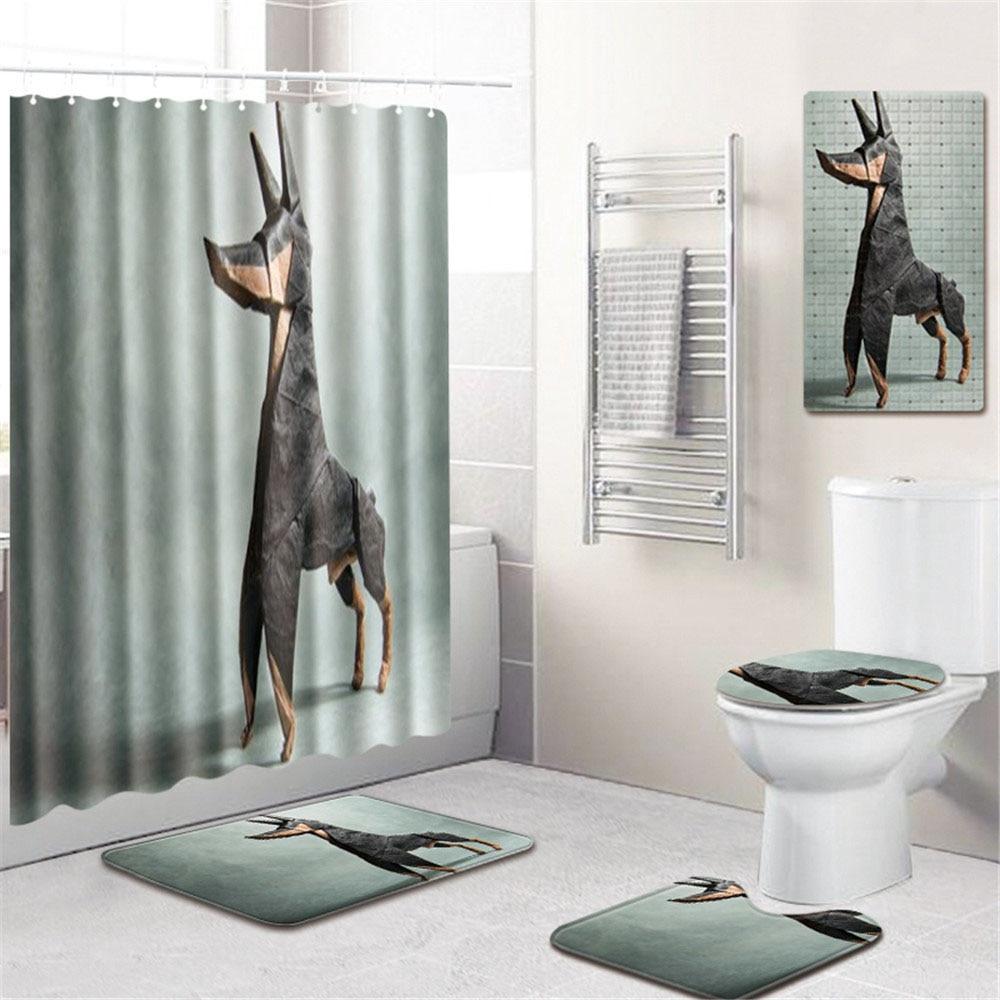 3D небо Шторки для душа с принтом Ванная комната полиэстер водопоглощающий коврик ковер ПВХ Противоскользящий коврик для ванной современны... - 5