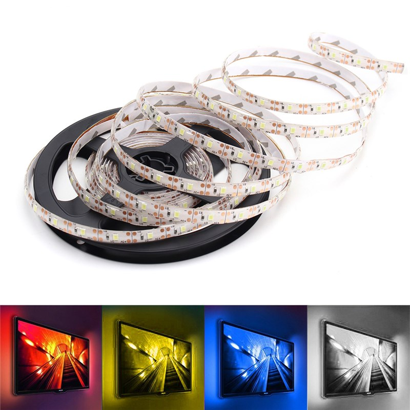 Waterproof LED Strip TV Backlight DC5V 5M USB 2835 SMD Pure White Warm White Red Blue Holiday Lighting Indoor Outdoor Decoration