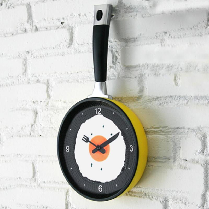 New Kids Wall CLock Creative Omelette Fry Pan Kitchen Fried Egg MINI Design Children Wall Clocks Kitchen Clock 3 Colors