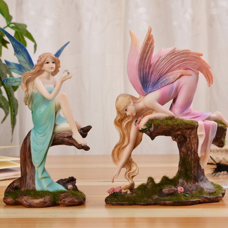 Nordic Pastoral Forest Girl Angel Ornaments Figurines Miniatures Resin  fairy garden Elf Crafts Wedding Gift home Decoration