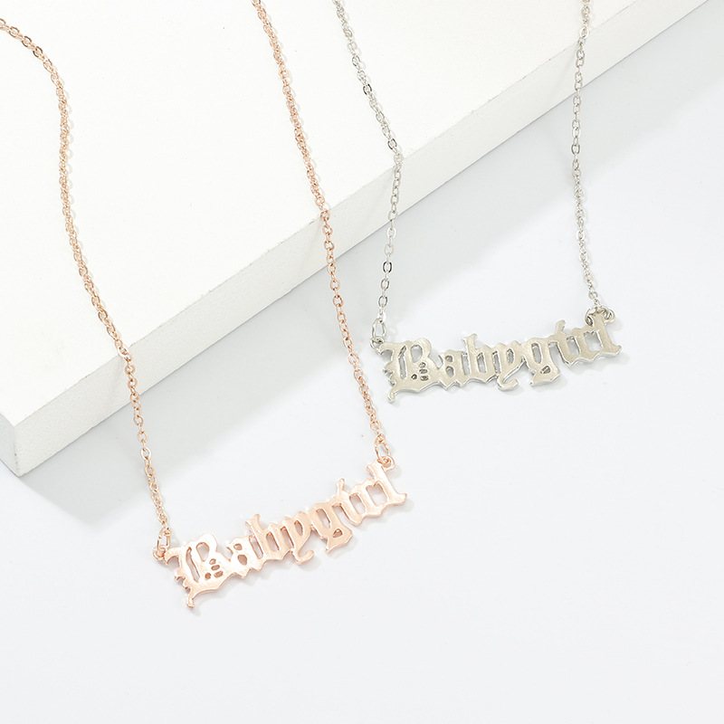 Baby Girl Letter Pendant Necklace Jewelry Creative Geometric English Initial Alphabet Charm Rose Gold Chain Necklaces