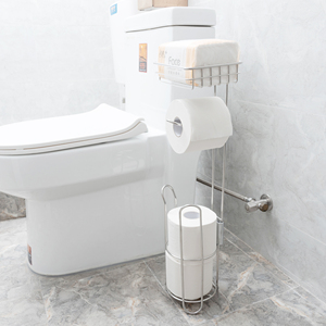Image 5 - Stainless Steel Toilet Paper Roll Stand Holder Bathroom Paper Holder with Storage Shelf for Cell, Mobile Phone Freestanding