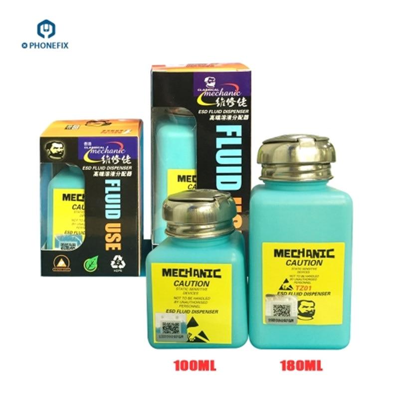 Mechanic 100ML 180ML Plastic Liquid Alcohol Bottle For Mobile Phone Cleaning ESD Fluid Dispenser For Logic Board Repair