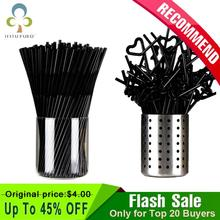 Drinking-Straw Summer Birthday-Party Wedding Plastic Cocktail Black 100PCS Special Lounge