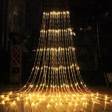 3X3M 320 LED מפל עמיד למים מטאור מקלחת גשם מחרוזת אור חג מולד חתונת וילון נטיף קרח פיות מחרוזת גרלנד