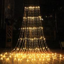 3x3 m 320 led 폭포 방수 유성 샤워 비가 문자열 빛 크리스마스 웨딩 커튼 고드름 요정 문자열 화환