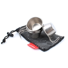 4pcs outdoor 304 stainless steel mini wine cup portable water 50ml + mesh bag camp camping cookware mug