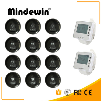 Mindewin Restaurant Wireless Service Calling System 12PCS Service Call Button M-K-1 and 2PCS Watch Pager M-W-1