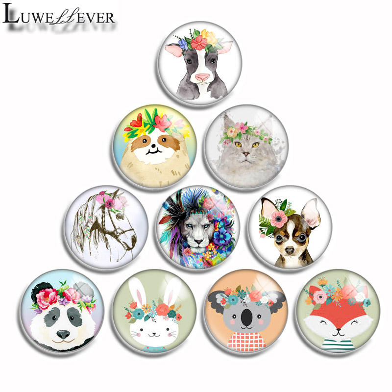 12mm 10mm 16mm 20mm 25mm 30mm 542 Animal Flower Mix Round Glass Cabochon Jewelry Finding 18mm Snap Button Charm Bracelet