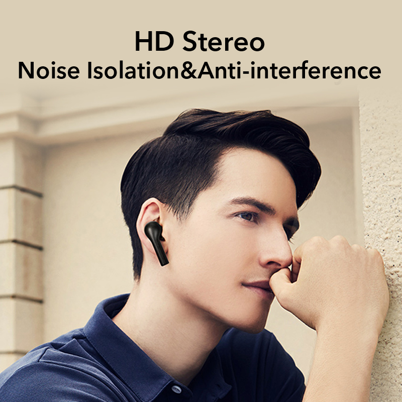 QCY T5 Bluetooth Earphones V5.0 Wireless Headphones Touch Control Stereo HD talking with 380mAh battery charging box 5