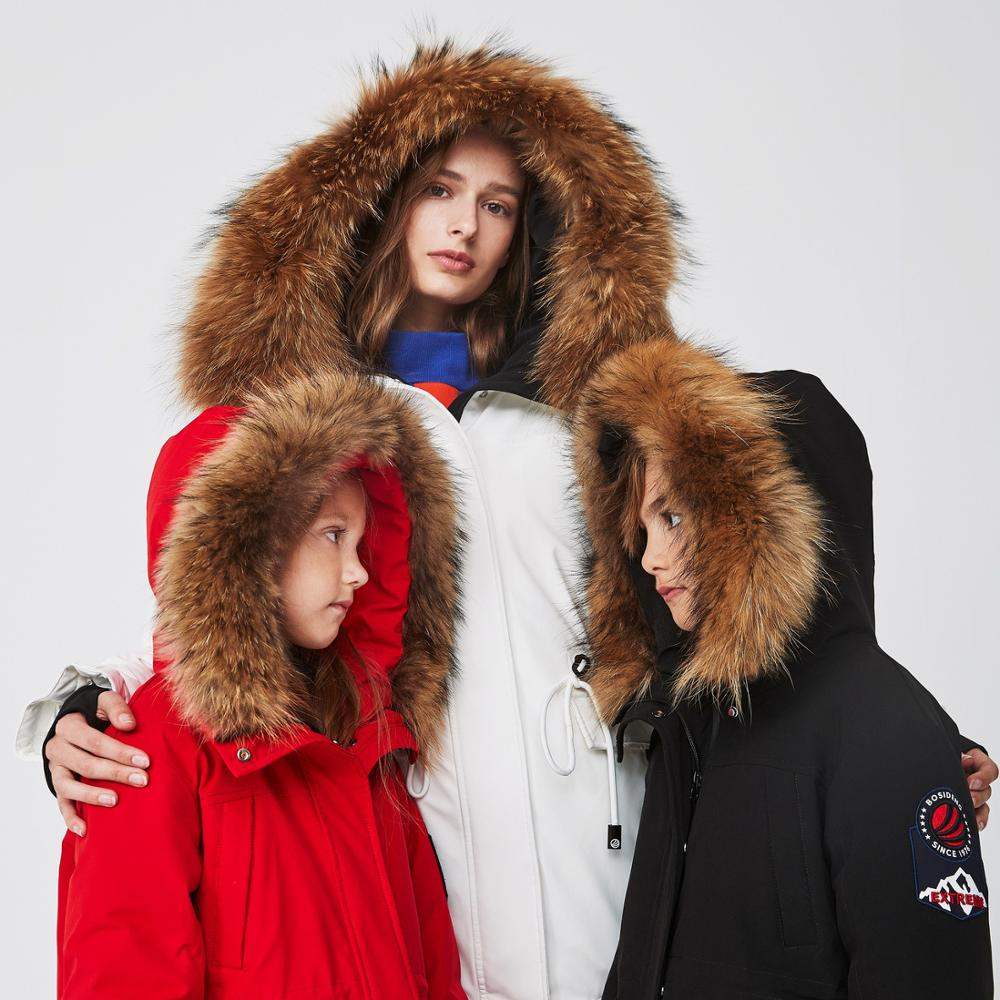 Bosideng children's clothing hooded fur collar down jacket mid-length warm jacket [extremely cold series] T90142031