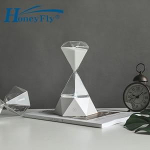 Светодиодный ночник HoneyFly с алмазными песочными часами, перезаряжаемый по USB, 15 мин. времени, ночник, настольная лампа с семи изменением цвета