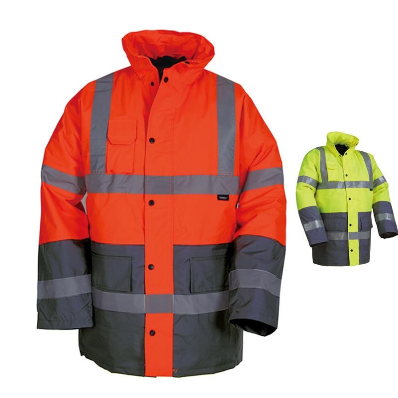EN471 ANSI/SEA 107 salut vis deux tons imperméable veste de parc de sécurité avec bande réfléchissante orange sécurité vêtements de travail veste d'hiver