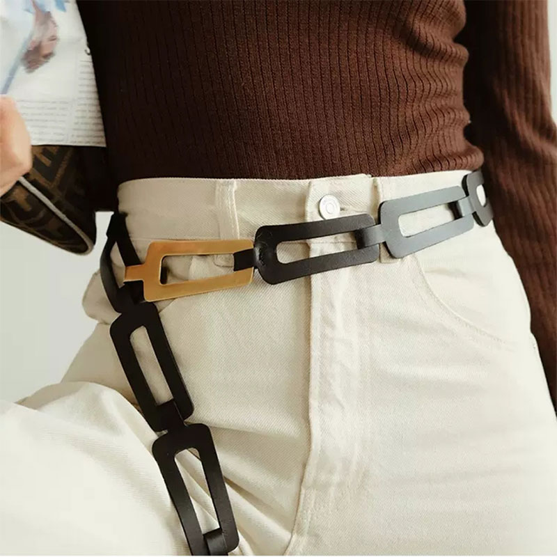 CETIRI Pu Leather Multicolor Black Split Joint Plus Size Long Wide Belt Personality Women New Fashion Tide All-match