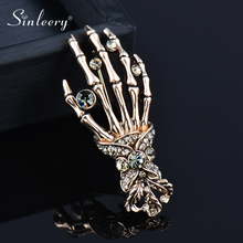 Hand-Brooches Jewelry-Accessories Zircon-Pins Skull Punk Cool Gifts SINLEERY Women