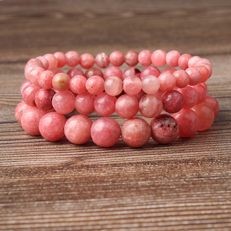 LanLi natural jewelry 6/8/10/12mm rose red Rhodochrosite stones loose beads Bracelet Charms Yoga Women meditation amulet(China)