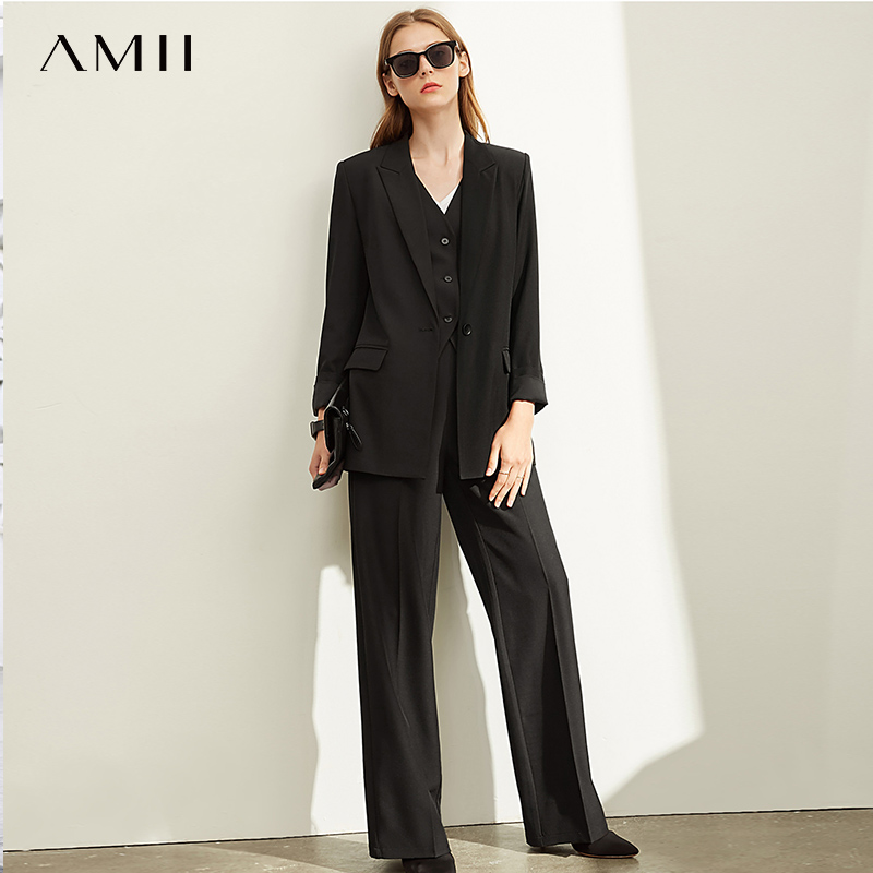 Amii Spring Professional Two-piece Suit Set, Women's New Slim Fit High Waist Wide Leg Pants , Leisure Solid Suit Coat 11940384