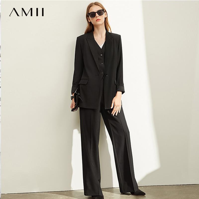 Amii Spring Professional Two-piece Suit Set, Women's New Slim Fit High Waist Wide Leg Pants , Leisure Solid Suit Coat 11940384