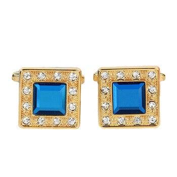 Metal Blue Crystal  Classic  Luxury Cufflinks 6