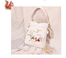 Angelatracy 2020 New Arrival Stawberry Mouse Lace Beige Tassel Handle Totes Lunch Women Messenger Crossbody Bags Drawstring Bag