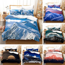 Cenário natural padrão cama 3d impressão paisagem neve montanha impressão rainha do fundamento capa de edredão conjunto colchas com fronha