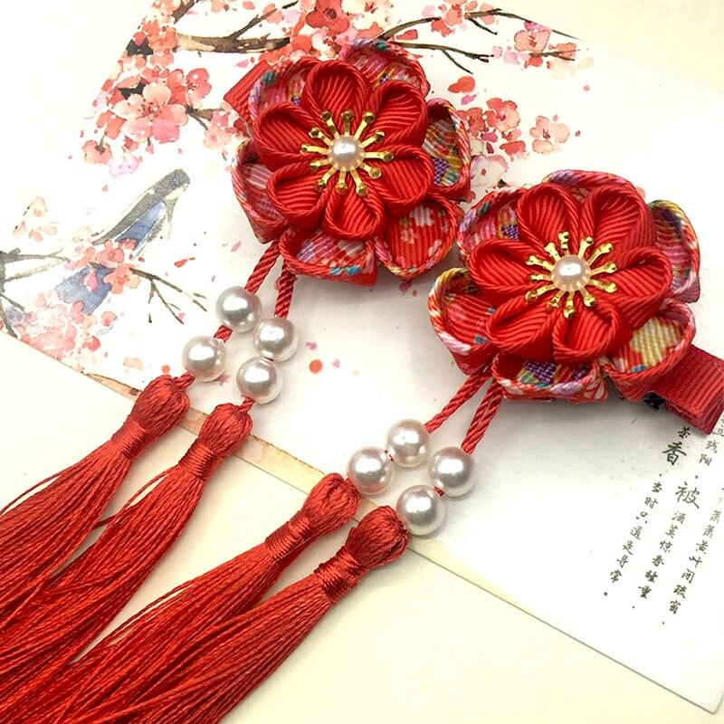 Grampo de Cabelo Maru-tsumami Kanzashi Flor Borlas Sakura Tradicional Estilo Japonês Quimono Acessório Gueixa Pura Artesanal Hw043 2 Pçs