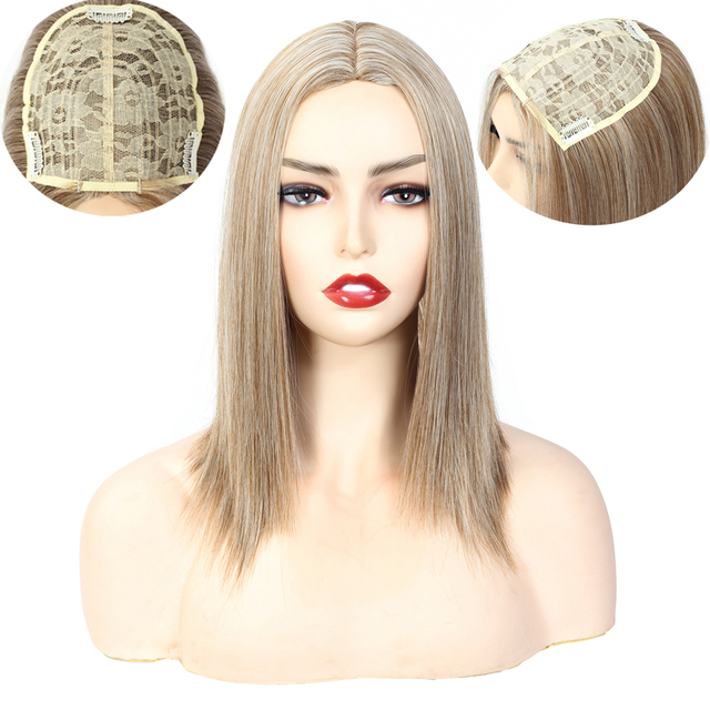 Aigemei Silky Straight Synthetic Hair Invisible Block Replacement Closure 613 Hairpiece for Top Less Hair Women