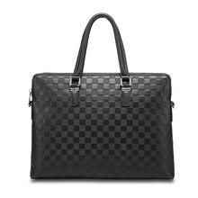 HORIZONPLUS America and europe luxury  fashion men deboss plaid pattern genuine leather messenger bag business briefcase