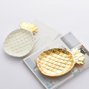 Northern European-Style Light Luxury Ceramic Plate Gold-Plated Pineapple Storage Decorative Plates Storage Plate Ornaments Gourm