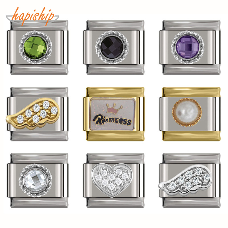 Hapiship 2019 Original Daisy Heart Wing Round CZ High-end Italian Charm Fit 9mm Bracelet Stainless Steel Jewelry Making DJ199