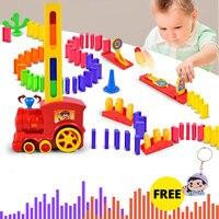 60 pçs elétrico dominó carro trem veículo modelo automático configurar colorido plástico dominó brinquedos jogo de presente de natal para menino criança|Carrinhos de brinquedo e de metal|   -